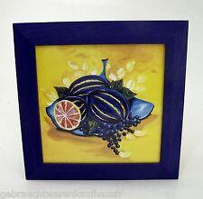 Obst Design Motiv Bild Wandbild Holzrahmen blau ca. 33 x 33 cm