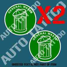 GENERAL WASTE DECAL STICKER X2 COMMERCIAL GARBAGE BIN OH&S SAFETY DECAL STICKERS