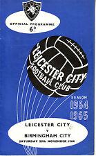LEICESTER CITY V BIRMINGHAM CITY 28 NOV 1964 TOP DIV OVER 52 YEARS AGO! VGC