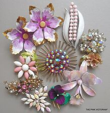10pc VINTAGE metal ENAMEL flower PIN brooch LOT purple VIOLET, SIGNED, ORCHID