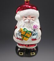 """ITALIAN  MERCURY GLASS SANTA CLAUS W/ GIFTS CHRISTMAS ORNAMENT NEW WITH TAG 6"""""""