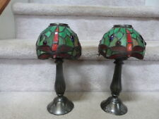 2 Tiffany Style Stained Glass Dragonfly Candle Holders Votives Lamp Shade 10.5""