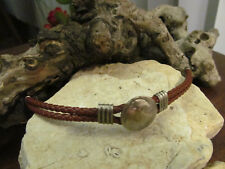 Faux Old American Nickel Bracelet Silver tone Brown Braided Faux Leather