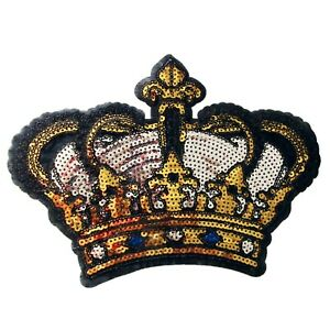 Large Sequin Crown Iron On Patch Decoration Motif Badge Bright Silver Gold P061