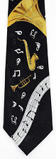 Horn Music Mens Necktie Horns Sax Trumpet Musical Instrument Black Neck Tie New