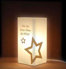 Tischleuchte Nachttischlampe Frostglas Für die beste Oma der Welt mit Sternen
