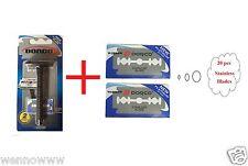 Safety Razor Double Edge Plastic W/2 Blades Platinum & Stainless Blades 20pcs