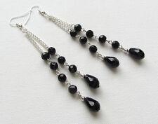 LONG Art Deco Jet Black Facet Glass Beaded Drop/Dangle PIERCED Earrings