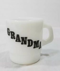Vintage White Milk glass Grandma Coffee Cup Mug Black Font
