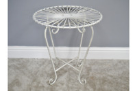 French Vintage Retro Style Side Table Garden Occasional Metal Iron Shabby Chic