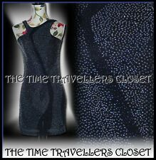 KATE MOSS TOPSHOP ASYMMETRIC BLACK IRIDESCENT BEADED DRESS SIZE UK 6 8 RRP £120