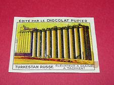 CHROMO TURKESTAN RUSSE N°202 ELEVATEUR GRAINS TACHKENT CHOCOLAT PUPIER ASIE 1936