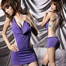 Lady Purple Sexy Night Club Cocktail Star Backless Deep V Shape Mini Dres New