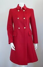 $2995 NWT Authentic VERSACE Red Wool DOUBLE-BREASTED TRENCH Coat IT-38 US-4