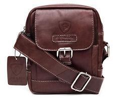 Designer Leather Mens  Ladies Crossover Shoulder Work Messenger Bag Veg Tan