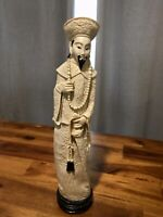 Vintage Chinese Sculpture Resin Plastic China Figurine Man with Hat Sword