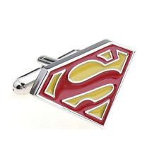 CLASSIC SILVER TONE SUPERMAN DESIGNER CUFFLINKS RETRO GEEK INDIE COMIC 80'S MENS