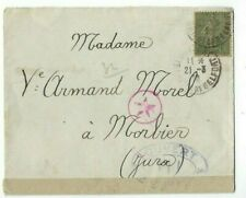 1919 France, 15c Peace & Commerce to Morbier, WWI Military Censor Tape Red Star