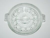 "Vintage 7 1/4"" Round Clear Glass Divided Serving Relish Dish Tray Plate Candy"