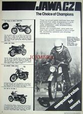 1975 'JAWA & CZ' Range of Motor Cycles ADVERT (487L) - Original Print Ad
