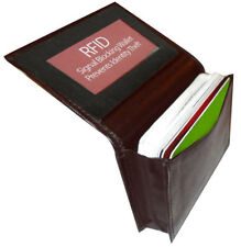 RFID Scan Blocking Brown Leather Window ID Credit Card Wallet Pocket Holder