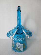 Fenton 9.5'' Teal Blue Opal Top Hat  Basket  w/ HP White Flowers Gorgeous SALE