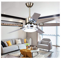 Modern Ceiling Fans Light with Reversible 5 Stainless Steel Blades LED Dimmable