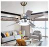 """42""""/48""""/52"""" Ceiling Fan Light 5 Stainless Steel Blades LED Fan Lamp w/ Remote US"""