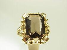 Schöner Rauchquarz Ring 585 Gelbgold fein verzierte filligrane Fassung Handarb.