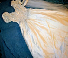 Sz 12 Forever Yours ivory silk wedding dress beaded bodice long train