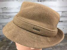KANGOL Blue Camel Tan Wool Gaffer Fedora Trilby Hat Cap sz L