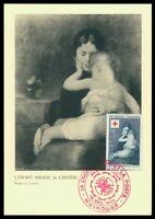 FRANCE MK 1954 ROTES KREUZ CARRIERE GEMÄLDE LOUVRE CARTE MAXIMUM CARD MC ax77