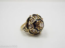 Vintage 14k Yellow Gold, Black Enamel & Diamond Princess Style Dome Ring, 6.5