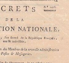 Révolution Décret 1496 Convention Nationale 1793 Postes Messagerie Courrier
