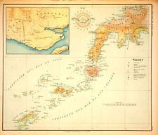 PHILIPPINE ISLANDS - MINDANAO - ZAMBOANGA - BASILAN 1899 Original Antique Map