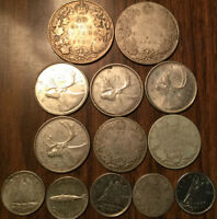 LOT OF SILVER CANADA 10/25/50 CENTS LOT OF 13 SILVER COINS TOTAL