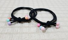 ONE PAIR PONYTAIL HOLDER WITH ASSORTED PASTEL BEADS HAIR ACCESSORY