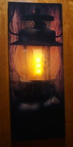 Lighted Flicker Flame Lantern Light Log Cabin Lodge Home Country Primitive Decor