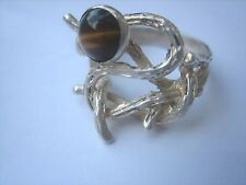 VINTAGE TIGERS EYE WOODLAND GOTHIC STERLING SILVER RING MODERNIST