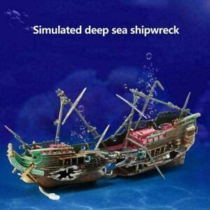 Large Broken Boat Shape Fish Tank Separated Sunk Shipwreck Aquarium-D Wreck V9J0