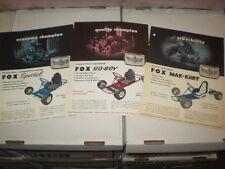 Vintage 1960's Fox Special, Fox Mak-Kart,& Fox GoBoy Go-Kart Brochure Reprints