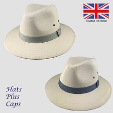 611e34e635d348 Mens Summer Fedora Cotton Wide Brim Trilby Sun Hat Holiday Panama Beach  Travel