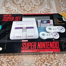 Nintendo Super NES Super Set Console System Game Mario World In Original Box
