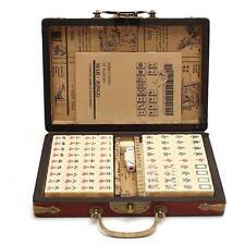 Portable Retro Mahjong Box Rare Chinese 144 Tiles Mah-Jong Set In Leather Box N