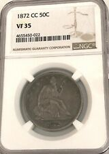 1872-CC, NGC VF 35, U.S. SEATED LIBERTY SILVER HALF DOLLAR- SEE OTHER RARE COINS