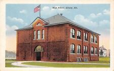 New listing Albany Alabama~Us Flag Over High School~Postcard 1920s