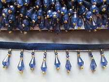 Sapphire Blue  Beaded Fringe/Trim   Sewing/Costume/Crafts/Corsetry