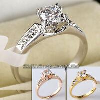 A1-R005 Fashion Engagement Wedding Ring 18KGP CZ Rhinestone Crystal Size 5.5-10