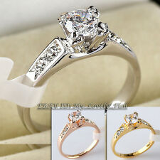 Fashion Engagement Wedding Ring 18KGP CZ Crystal Size 5.5-10