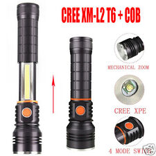 Magnet Zoom 3500Lm CREE XM-L2 T6+ COB LED 4 Modes 18650 Battery Flashlight Torch